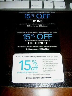 Office Depot Coupons 15% off 15% off HP Ink & Toner Expire 07/31 Fast Shipping