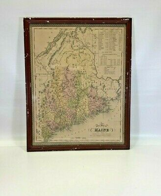 1849 Mitchell Map of Maine Framed