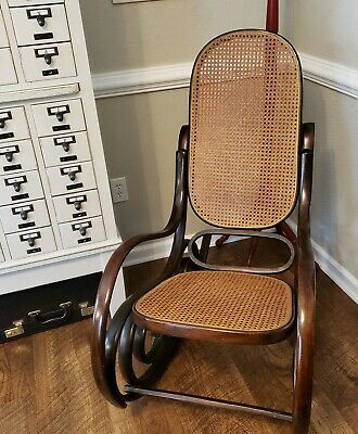 Vintage Thonet Style Cane Bentwood Rocking Chair Rocker Italy Free Shipping