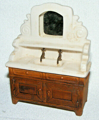 1975 SONIA MESSER Porcelain Double Faucet basin Sink on Metal Stand Vanity Doll