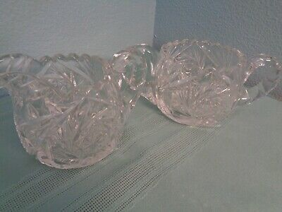 Antique Abp Deep Cut Glass Creamer And Sugar