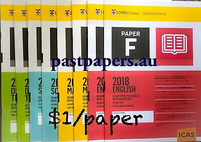 ICAS Past Papers $1/paper (with answers) - Year 2 to 10 Paper A B C D E F G H