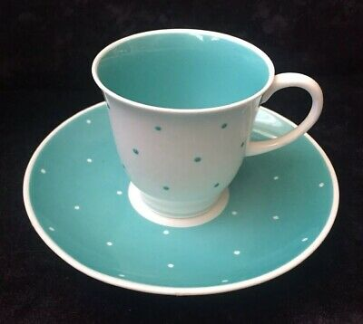 Vintage Susie Cooper Coffee Cup & Saucer - Raised Spot Pale Duck Egg