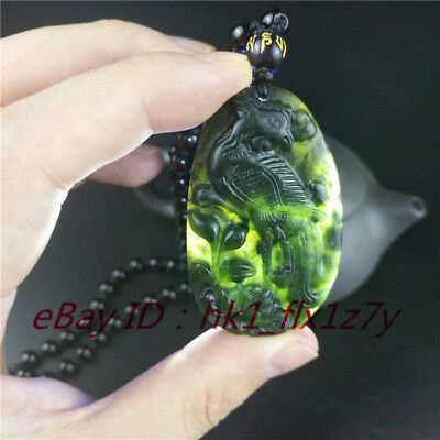 Natural Chinese Black Green Jade Phoenix Pendant Necklace Lucky Amulet Jewelry