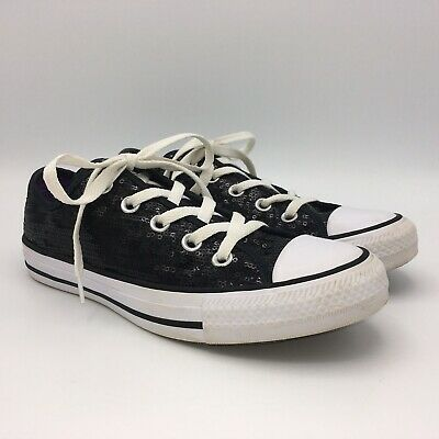 Converse All Star Black Sequins Low Tops Womens Girls 6 Mens 4 Purple Lining