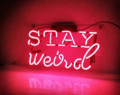 """New Stay Weird Pink Neon Light Sign Lamp Beer Pub Acrylic 14"""""""