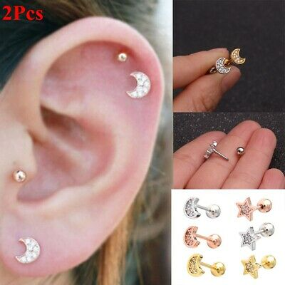 28c69f252 Surgical Steel Barbell Bar Cartilage Helix Ear Studs Tragus Earrings Star  Shape