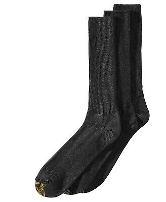 S7 Gold Toe Black Men's Crew Extended Size Big & Tall Fluffies Socks 13-15,