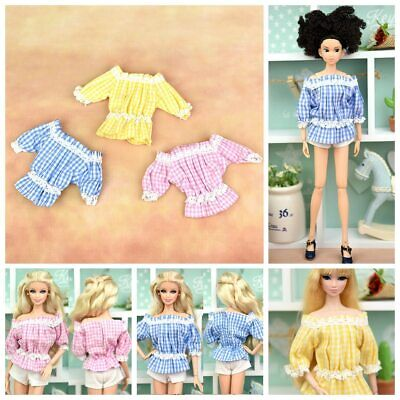 "Fashion Off-shoulder Plaid Clothes For 11.5"" Doll 1/6 Flounced Top Shirt Outfits"