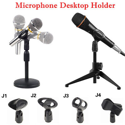 Foldable Desk Boom Mic Stand Microphone Clip Holder Tripod & Round Base Rack TW