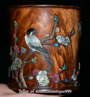 """5.6"""" Marked Old China Huanghuali Wood Inlay Shell Dynasty Brush Pot Pencil Vase"""