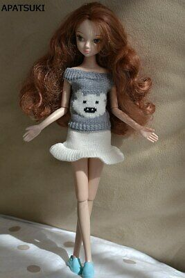 "Grey Cute Bear Causal Knitted Sweater For 11.5"" Doll  Clothes Skirts Top Shorts"