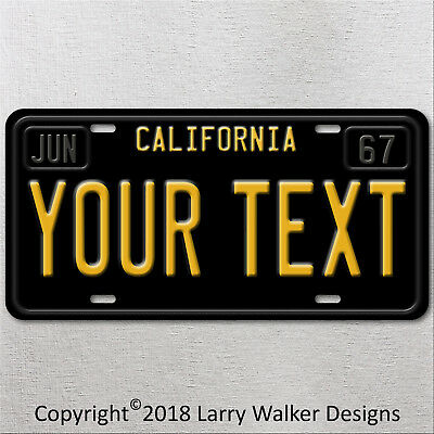 California Black Your TEXT MONTH YEAR Personalized  Aluminum License Plate Tag