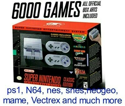Authentic Snes classic Modded w/6000 games/new tecmo 2019 nes recently added