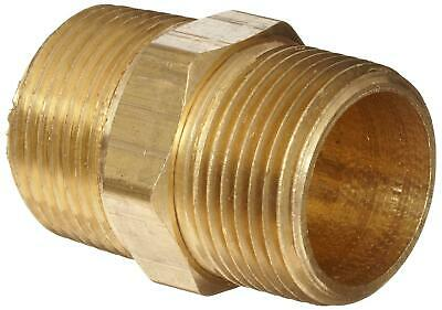 "Anderson Metals Brass Pipe Fitting, Hex Nipple, 3/4"" x 3/4"" Male Pipe"