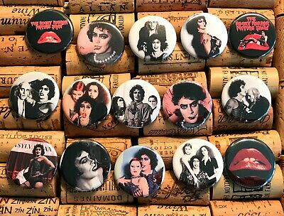 """ROCKY HORROR PICTURE SHOW! Set of 15! 1 1/4"""" size Pinback Buttons Pins Tim Curry"""