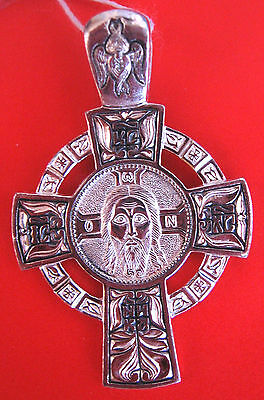 Russian Orthodox Icon Cross Christ St Nikolay Silver 925 #13.3