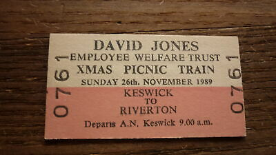Old South Australian Sar Railway Train Ticket, 1989 David Jones Picnic Train
