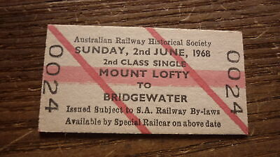 Old South Australian Sar Railway Train Ticket, 1968 Mount Lofty - Bridgewater