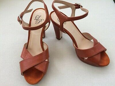 LP VERO CUOIO UK4 Real Leather Brown Heels Sandals Open Toe EUR37 Made In Italy