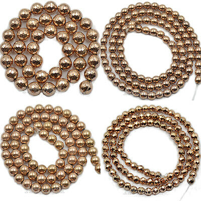 Natural Gemstone Rose Gold Hematite Smooth Faceted Round Beads 2mm 3mm 4mm 6mm