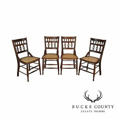 American Victorian Antique Walnut Set 4 Cane Seat Dining Chairs