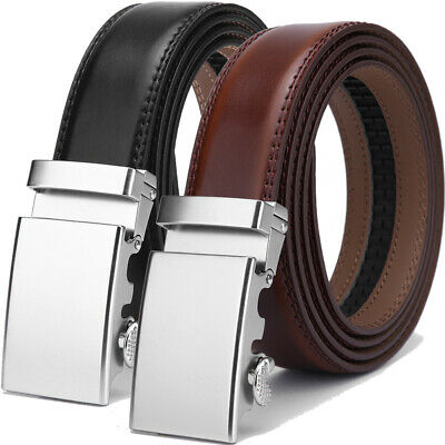 New Men's Ratchet Belt with Automatic Buckle for Men Genuine Leather Waist Strap