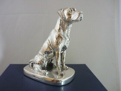 Stunning Large Hallmarked Sterling Silver Sitting Labrador Dog Statue