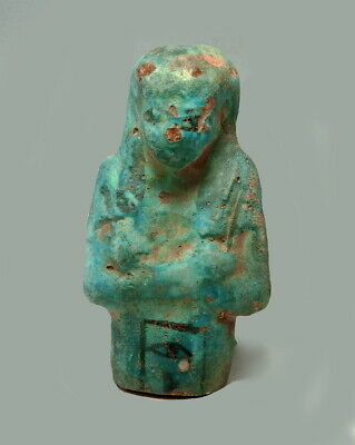 Large Egyptian Blue Faience Shabti Fragment With Hieroglyphs To Body (M543)