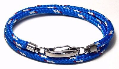 Nautical Rope Wrap Bracelet White Heavy Duty Stainless Snap Hook Hand Made USA