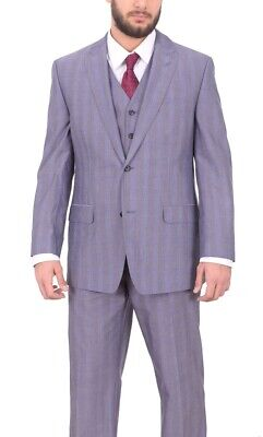 Sean John Mens Classic Fit Purple Plaid Three Piece Suit With Peak Lapels