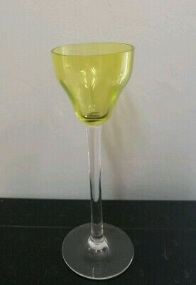 Yellow Uranium Glass Ogee bowl shaped wine glass - vintage / antique