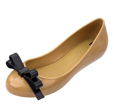 a6aee823975 Zaxy NEW Pop Lovely camel contrast black bow flat fashion ballet shoes  sizes 3-8
