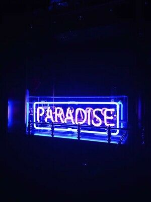New Paradise Neon Light Sign Lamp Beer Pub Acrylic Box Decor Artwork Real Glass