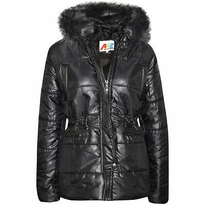Kids Girls Jackets Puffer Black Hooded Detachable Faux Fur Wet Look Padded Coats