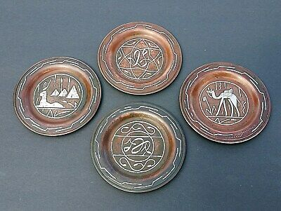 ANTIQUE COPPER / SILVER Mid East Cairo Ware SET 4 Egyptian Revival w Inlay vgc