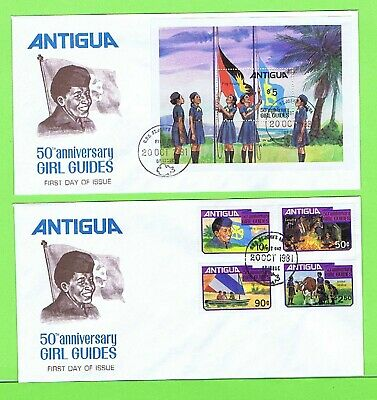 Antigua 1981 Girl Guides set and miniature sheet on two First Day Covers