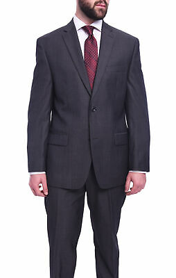 Michael Kors Regular Fit Charcoal Gray Herringbone Two Button Wool Suit