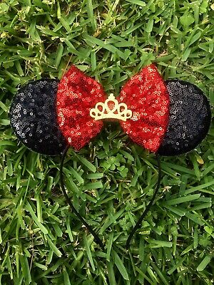 Snow White Minnie Mouse Ears, Disney Princess, Sparkle Mouse Ears, Red