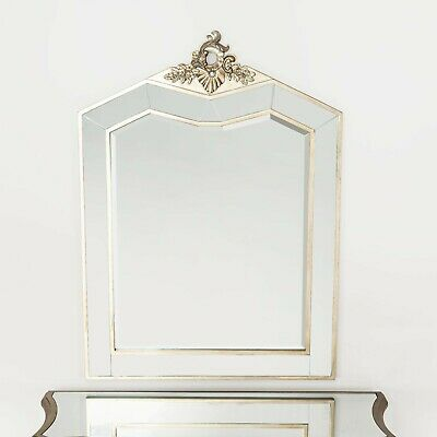 Antique Silver French Mirrored Bevelled Glass Decorative Wall Mirror