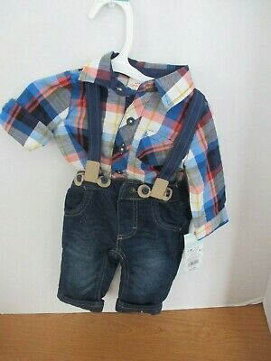 CAT & JACK~Blue Plaid SHIRT, JEANS, SUSPENDERS OUTFIT~Baby Boys 0-3 months~NWT