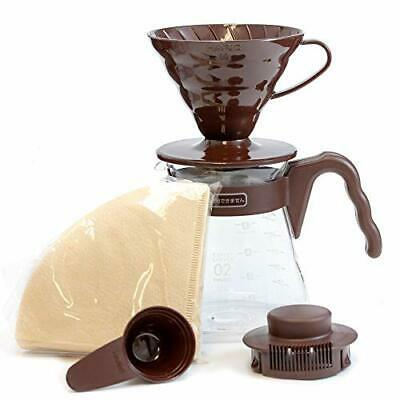 Hario V60 Pour Over Starter Set with Coffee Dripper Pot Scoop and Filters Size 0
