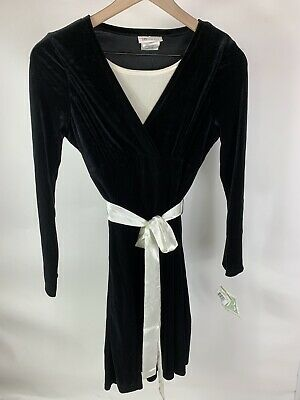 Bonnie And Jean Girls Black Velvet Long Sleeve Dress White Tie Belt 14