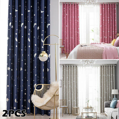 Star Thermal Blackout Curtains PAIR Eyelet Ready Made Kids Boys Girls