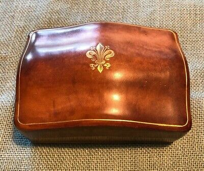 Stunning Antique French Victorian Fleur de Lis Gilded Leather Jewelry Ring Box