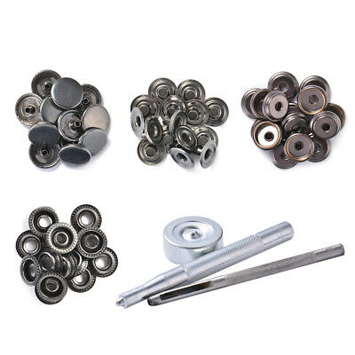 15mm 17mm Metal Press Stud Snap Button Popper Fastener for DIY Sewing Leather