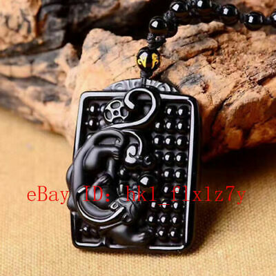 Chinese Natural Obsidian Abacus Dragon Pure Hand Carved Lucky Pendant jewelry