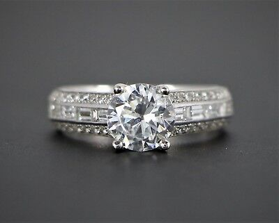 Uneek 18K White Gold .87ct Round Baguette Diamond Engagement Ring Band 6.5