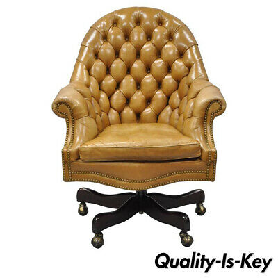 634eb776f8c2 20th C. Cabot Wrenn Tan Leather English Chesterfield Executive Office Desk  Chair