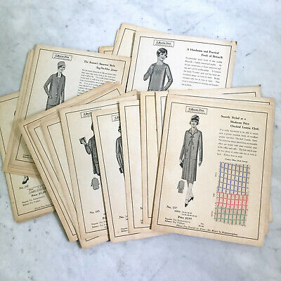 Antique Fabric Salesman Samples Drawings Book Beatrice Dress Styles Flapper 20s